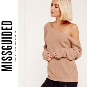 Missguided Ophelita Off Shoulder Knit Sweater